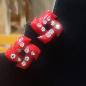 """50""""s Red Lucite Earrings"""